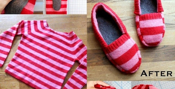 Upcycled Slippers Tutorial