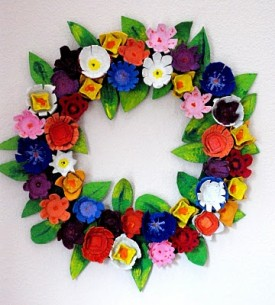 egg carton wreath finished